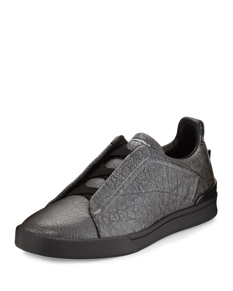 Ermenegildo Zegna Metallic Leather Slip-On Sneaker, Silver