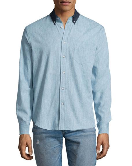 Rag & Bone Yokohama Long-Sleeve Chambray Shirt, Indigo
