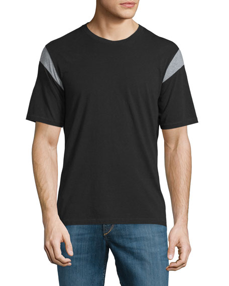 Rag & Bone Tobin Contrast-Panel Short-Sleeve T-Shirt, Black