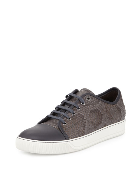 Men's Cap-Toe Python Low-Top Sneaker, Gray
