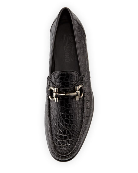 Crocodile Gancini Loafer, Black
