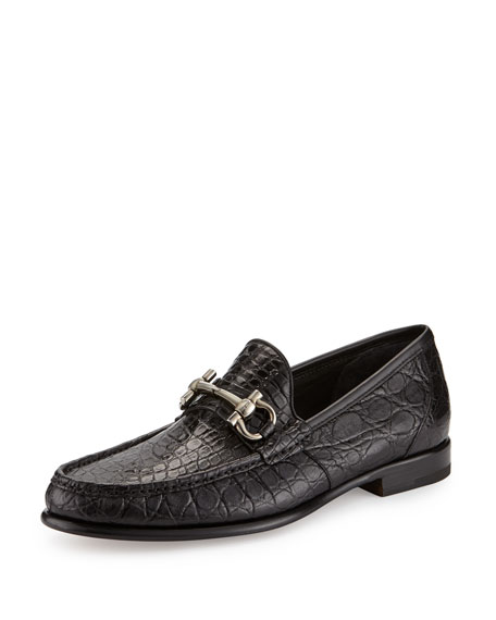 Salvatore Ferragamo Croc-Embossed Leather Gancini-Buckle Belt,