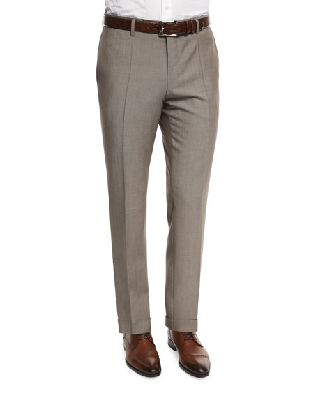 BOSS Genesis Slim-Fit Wool Trousers, Tan