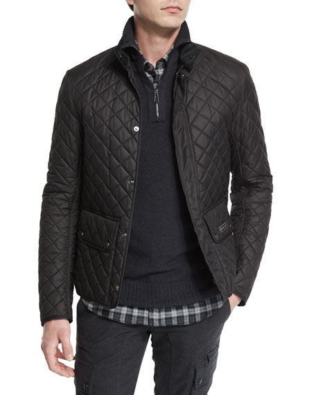 Belstaff Wilson Lightweight Quilted Tech Jacket, Black