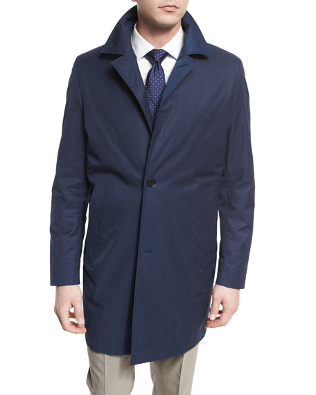 Boss Hugo Boss Single-Breasted Raincoat, Navy