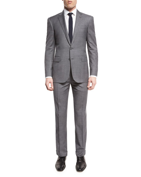 Anthony Two-Piece Sharkskin Suit, Light Gray
