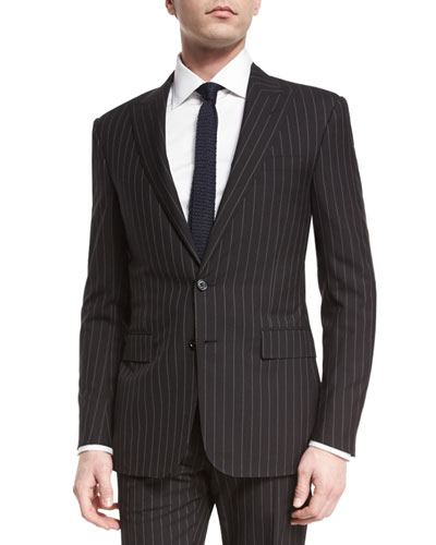Anthony Wide-Pinstripe Wool Suit, Medium Gray