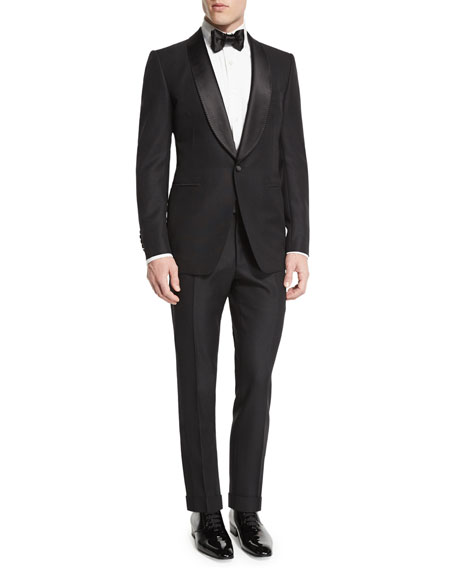 Buckley-Base Solid Tuxedo Jacket, Black