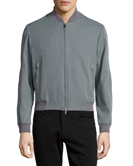 Costume National Zip-Front Bomber Jacket, Gray