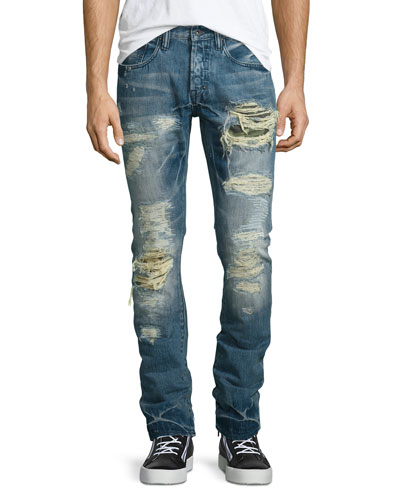 Demon Distressed Slim Denim Jeans, Blue
