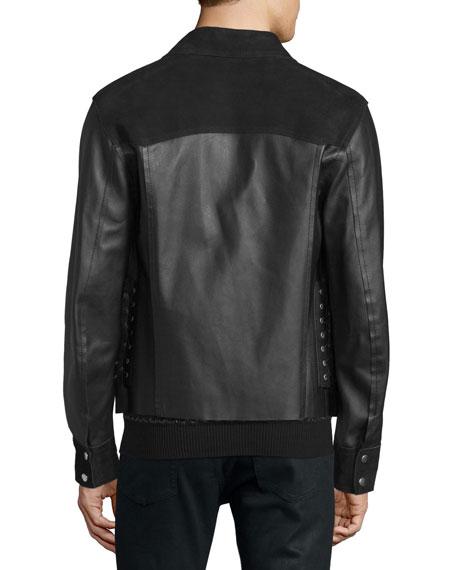 Kaban Snap-Front Leather Jacket, Black