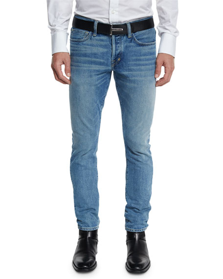 TOM FORD Slim-Fit Punk Pale Denim Jeans, Light Blue