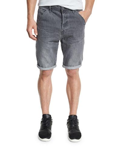 Faded Denim Shorts, Gray