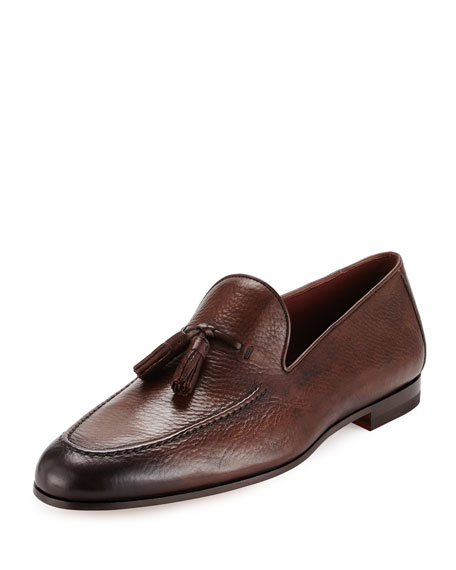 Magnanni for Neiman Marcus Pebbled Leather Tassel Loafer,