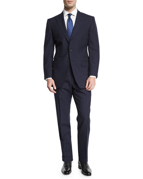 O'Connor Base Peak-Lapel Pinstripe Two-Piece Suit, Navy