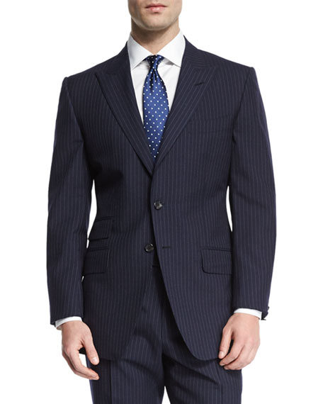 TOM FORD O'Connor Base Peak-Lapel Pinstripe Two-Piece Suit,