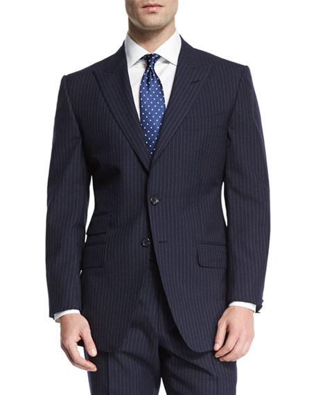 O'Connor Base Peak-Lapel Pinstripe Two-Piece Suit, Navy