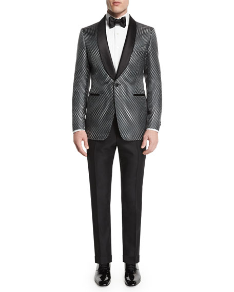 Buckley-Base Textured-Mesh Tuxedo Jacket, Gray/Black