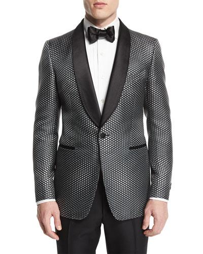 Buckley-Base Textured-Mesh Tuxedo Jacket, Gray/Black