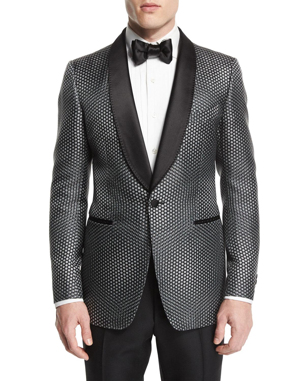 Tom Ford Buckley Base Textured Mesh Tuxedo Jacket Gray