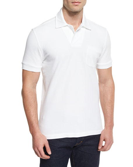 TOM FORD Tennis Pique Polo Shirt, White