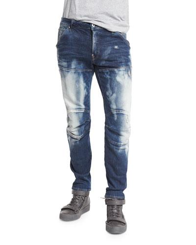 5620 3D Washed Out Slim Denim Jeans, Moon Wash Restore