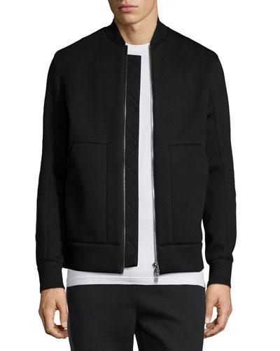 Zip-Up Pique Bomber Jacket, Black