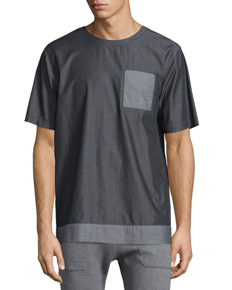 Helmut Lang Heritage Chambray Short-Sleeve Tee, Gray Multi