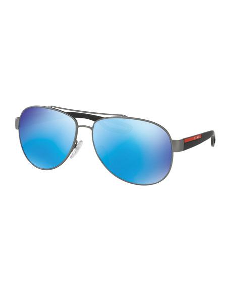 Prada Linea Rossa Metal Aviator Sunglasses with Mirror