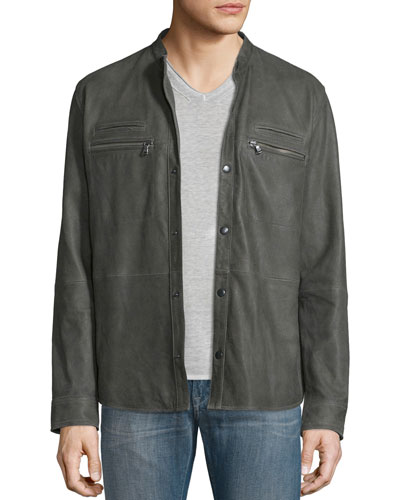 Goat Leather Shirt Jacket, Shade Green