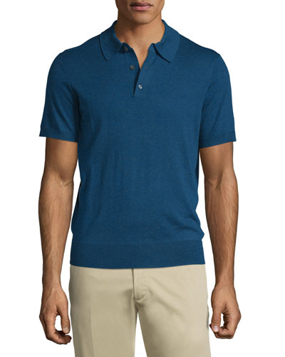 Short-Sleeve Cashmere-Silk Polo Shirt, Navy
