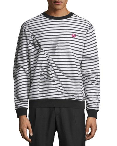 Trompe L'Oeil Broken-Stripe Sweatshirt