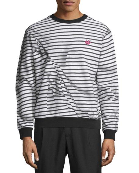 McQ Alexander McQueen Trompe L'Oeil Broken-Stripe Sweatshirt