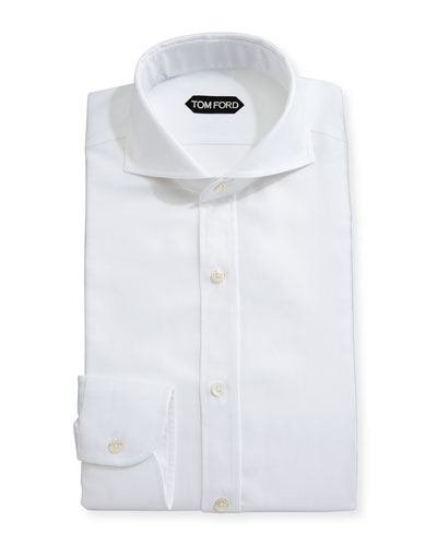 Tailored-Fit Textured Oxford Dress Shirt, White