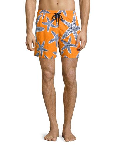 Moorea Starlets Starfish-Print Swim Trunks, Orange