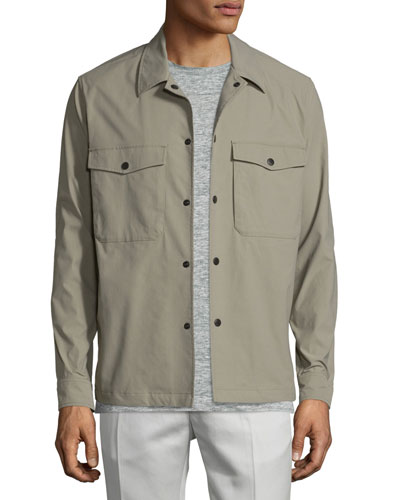 Drato Button-Front Shirt Jacket, Sidewalk
