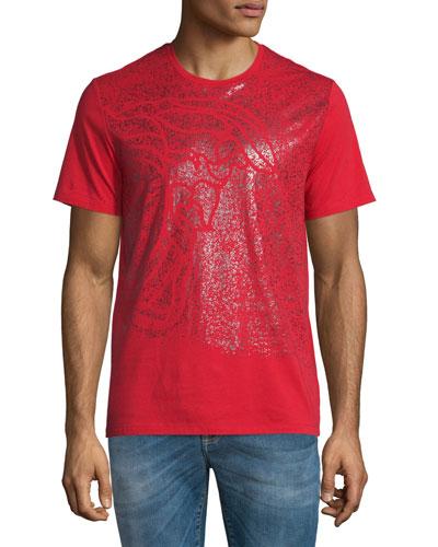 Sprayed Medusa Head Short-Sleeve Graphic T-Shirt, Red