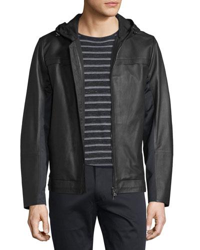 Mixed Media Hooded Leather Jacket, Black
