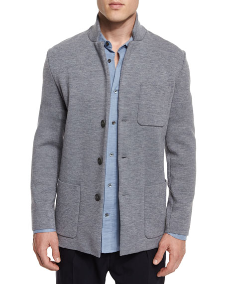 Button-Down Wool Knit Blazer, Heathered Cinder