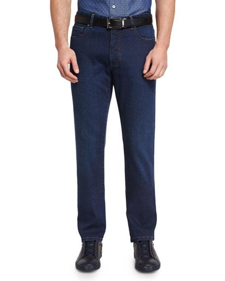 Ermenegildo Zegna Five-Pocket Regular-Fit Stretch-Denim Jeans, Blue