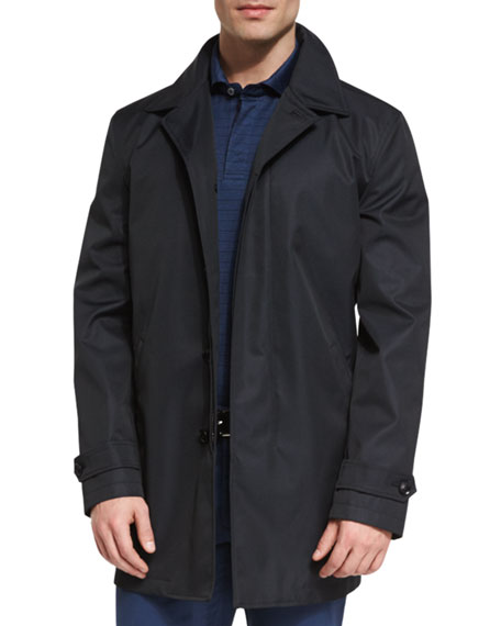 Ermenegildo Zegna Macintosh Jacket w/Leather Details, American