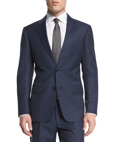 G-Line Solid Two-Piece Wool Suit, Navy