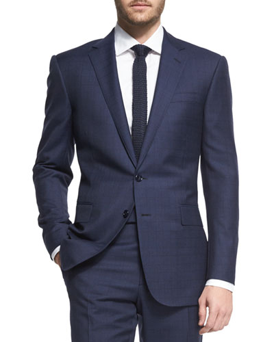 Prince of Wales Two-Piece Plaid Suit, Navy