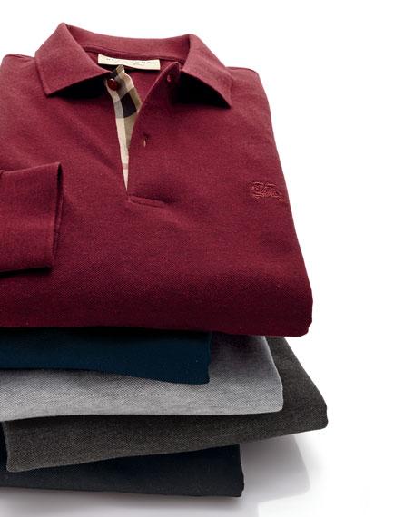 Long-Sleeve Oxford Polo Shirt, Charcoal Melange