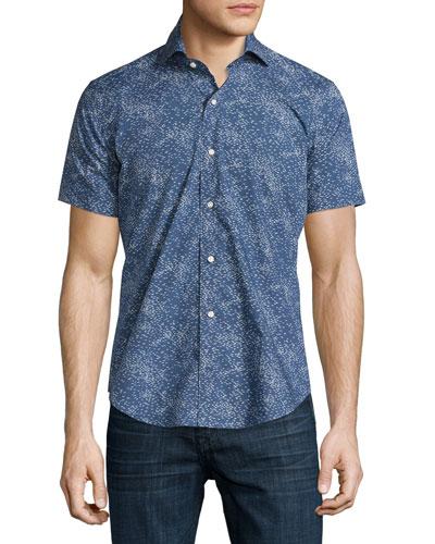 Ocean Traffic Printed Short-Sleeve Sport Shirt, Barchetta Blue