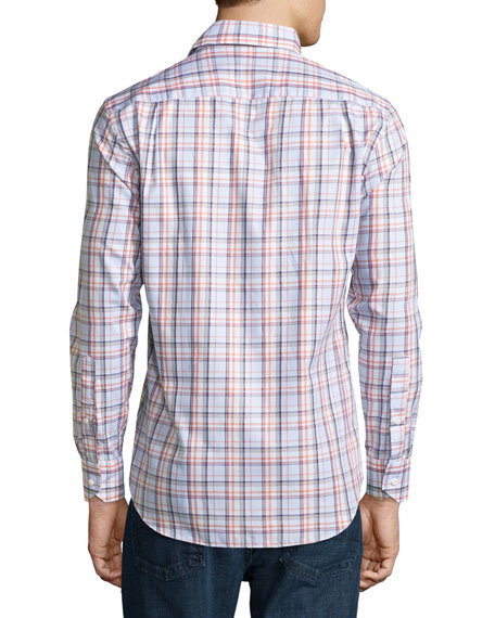 Sonoma Plaid Long-Sleeve Sport Shirt, Clementine