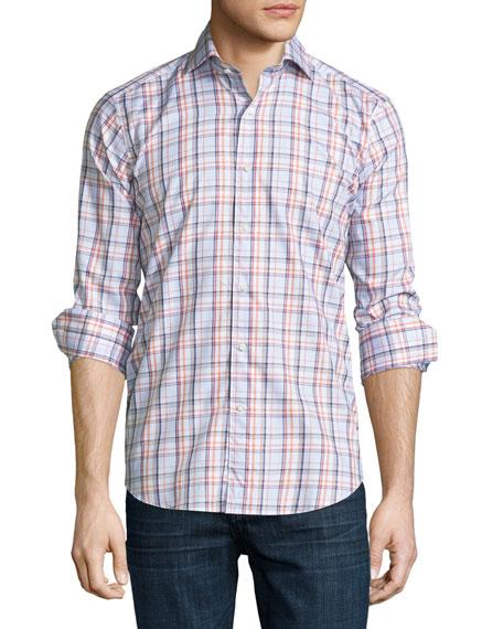 Sonoma Plaid Long-Sleeve Sport Shirt, Clementine
