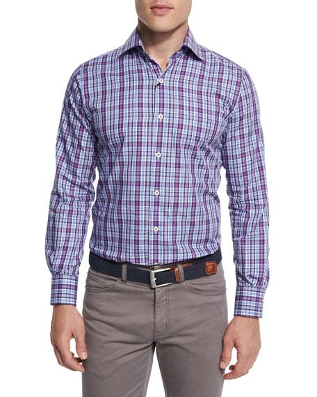 Peter Millar Tartan Plaid Long-Sleeve Sport Shirt