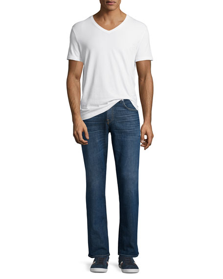 "Brett Modern Boot-Cut ""A"" Pocket Denim Jeans, Visionary"