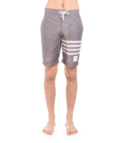 Striped-Leg Swim Trunks, Medium Gray